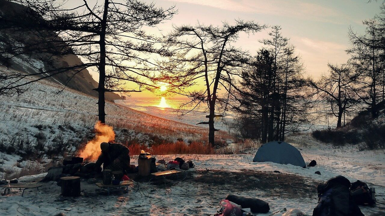 wintry, camping, adventure
